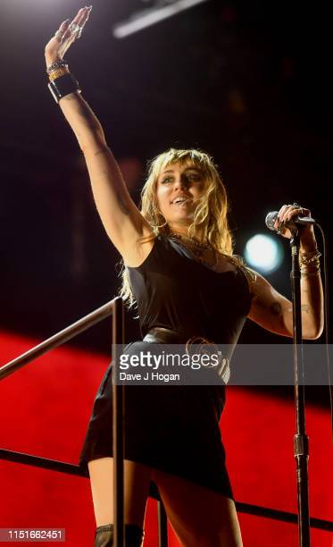 Miley Cyrus performs at the Radio 1 Big Weekend at Stewart Park on May 25 2019 in Middlesbrough England