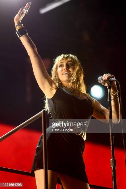 Miley Cyrus performs at the Radio 1 Big Weekend at Stewart Park on May 25, 2019 in Middlesbrough, England.