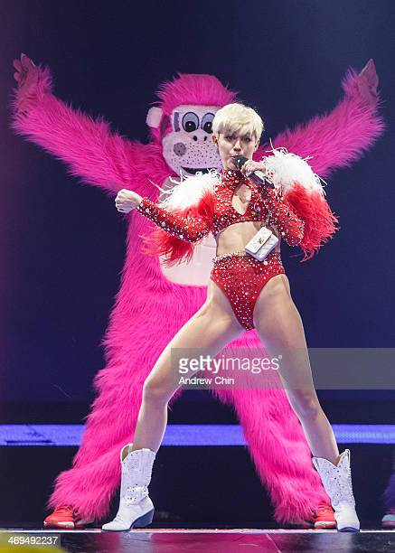 Miley Cyrus performs 'Bangerz Tour' opener at Pepsi Live at Rogers Arena on February 14 2014 in Vancouver Canada