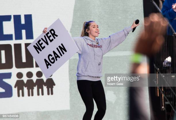 Miley Cyrus performs during March For Our Lives on March 24 2018 in Washington DC