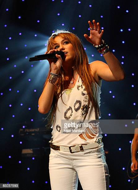 Miley Cyrus performs during The 519 Show part of BBC Switch Live at Hammersmith Apollo on October 12 2008 in London England