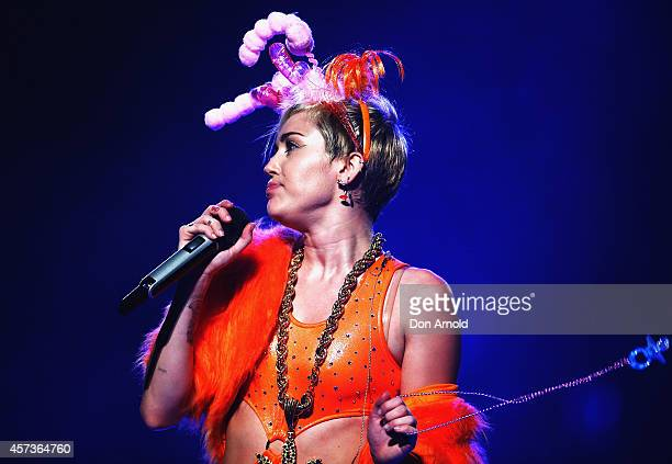 Miley Cyrus performs her Bangerz Tour live at Allphones Arena on October 17 2014 in Sydney Australia