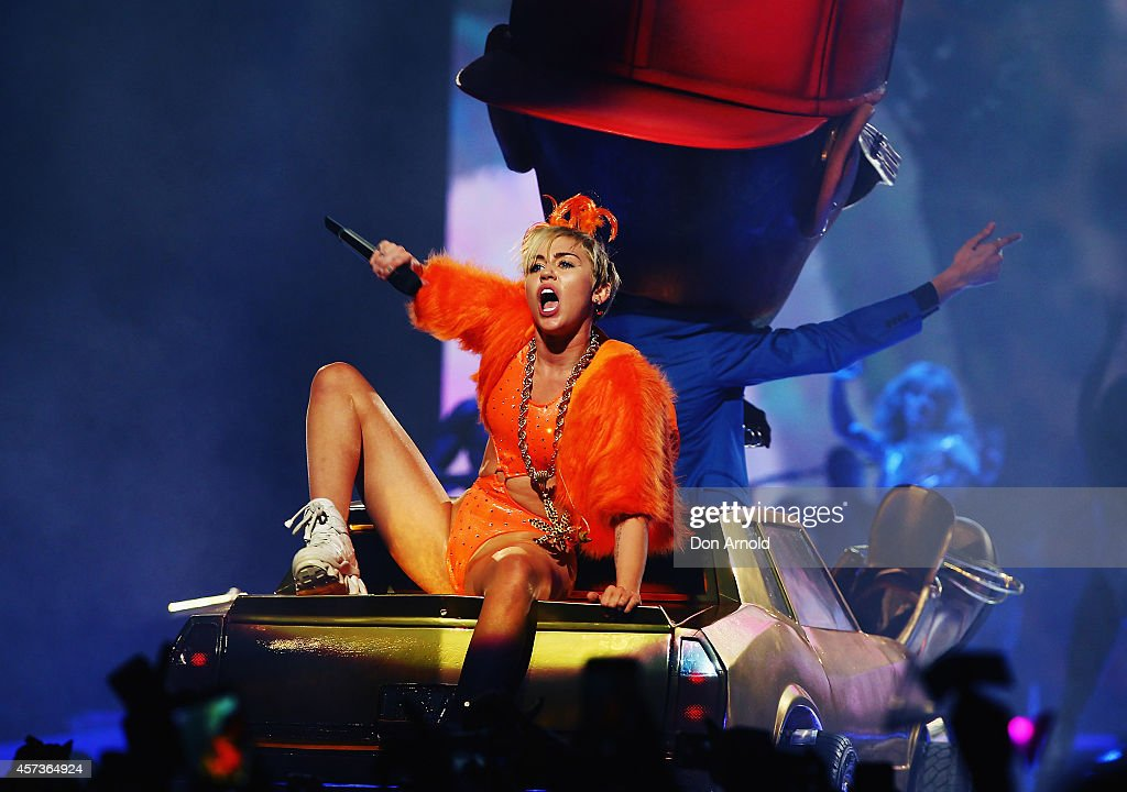 Miley Cyrus performs her Bangerz Tour live at Allphones Arena on October 17, 2014 in Sydney, Australia.