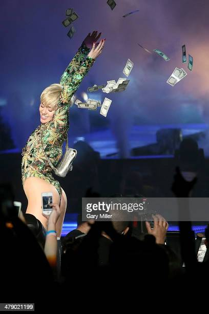 Miley Cyrus performs in concert during her Bangerz tour at the ATT Center on March 15 2014 in San Antonio Texas