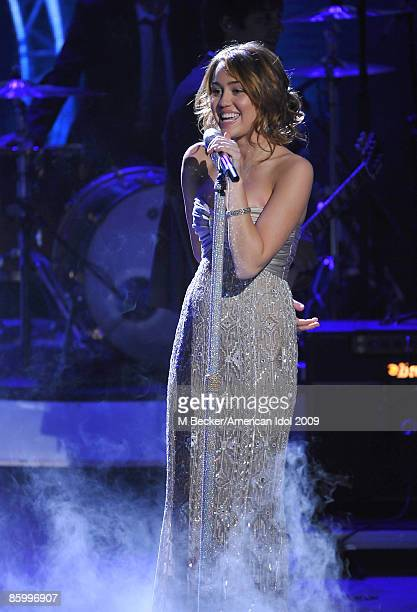 ACCESS*** Miley Cyrus performs live to air on the American Idol Season 8 Top 7 Elimination Show on April 15 2009 in Los Angeles California