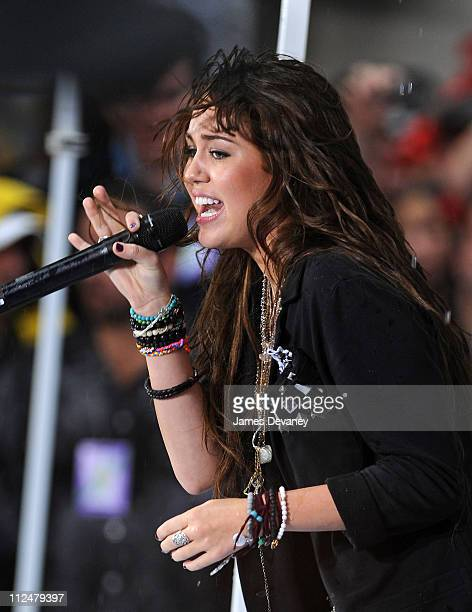 Miley Cyrus performs on NBC's 'Today' at Rockefeller Center on August 28 2009 in New York City