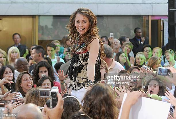 Miley Cyrus performs on NBC's Today at Rockefeller Plaza on July 25 2008 in New York City