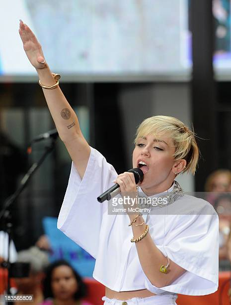 "Miley Cyrus performs on NBC's ""Today"" at the NBC's TODAY Show on October 7, 2013 in New York, New York."