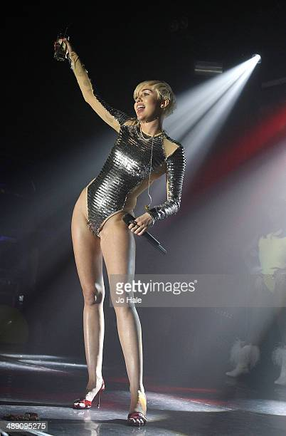 Miley Cyrus performs on stage at GAY on May 9 2014 in London England