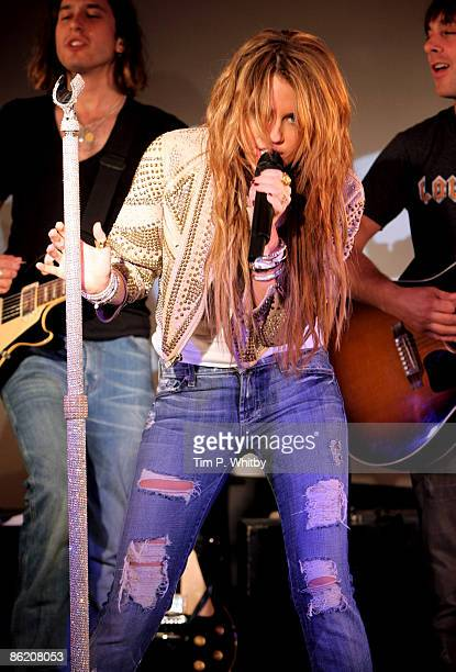 Miley Cyrus performs on stage at the Apple Store on Regent Street as part of ITunes LIVE From London on April 24 2009 in London England