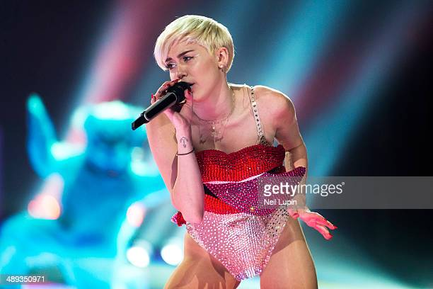 Miley Cyrus performs on stage during her Bangerz UK tour at First Direct Arena on May 10 2014 in Leeds United Kingdom