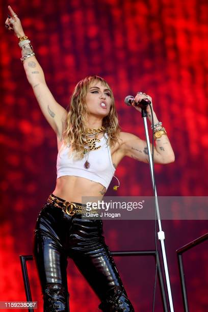 Miley Cyrus performs on the Pyramid stage during day five of Glastonbury Festival at Worthy Farm Pilton on June 30 2019 in Glastonbury England