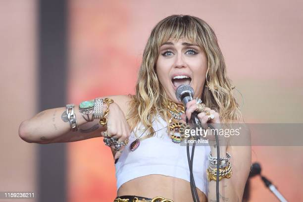 Miley Cyrus performs on the Pyramid Stage on day five of Glastonbury Festival at Worthy Farm Pilton on June 30 2019 in Glastonbury England...
