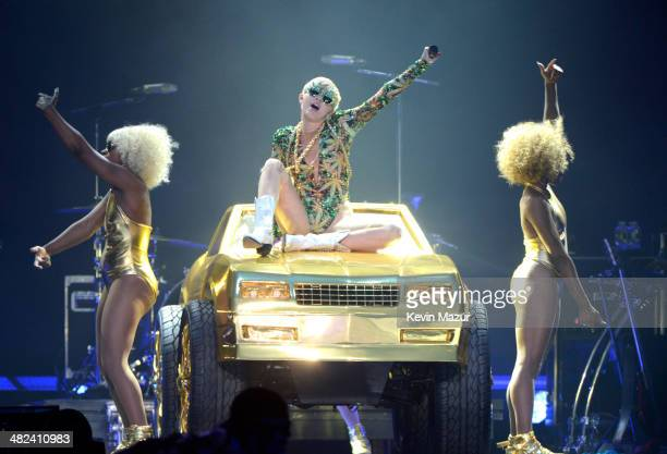 Miley Cyrus performs onstage at the Izod Center on April 3, 2014 in East Rutherford, New Jersey.