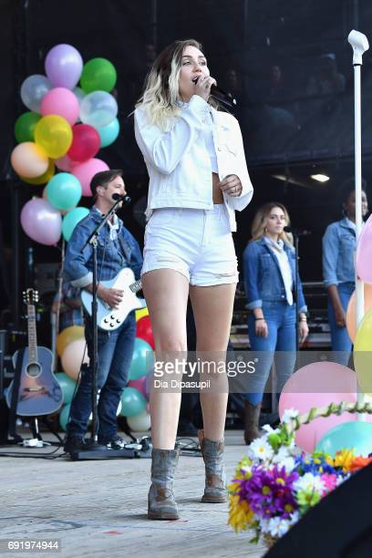 Miley Cyrus performs onstage during 1035 KTU's KTUphoria 2017 presented by ATT at Northwell Health at Jones Beach Theater on June 3 2017 in Wantagh...