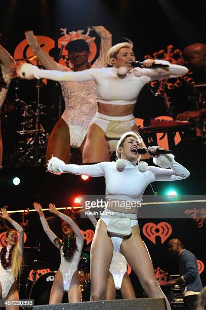 Miley Cyrus performs onstage during Hot 995's Jingle Ball 2013 presented by Overstockcom at Verizon Center on December 16 2013 in Washington DC