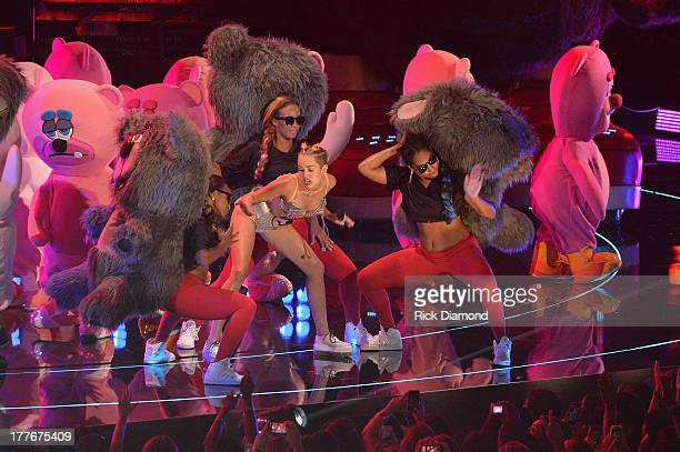 Miley Cyrus performs onstage during the 2013 MTV Video Music Awards at the Barclays Center on August 25 2013 in the Brooklyn borough of New York City