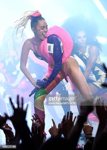 Miley Cyrus performs onstage during the 2015 MTV Video Music Awards at Microsoft Theater on August 30 2015 in Los Angeles California