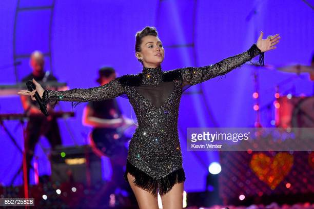 Miley Cyrus performs onstage during the 2017 iHeartRadio Music Festival at TMobile Arena on September 23 2017 in Las Vegas Nevada