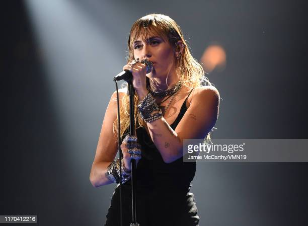 Miley Cyrus performs onstage during the 2019 MTV Video Music Awards at Prudential Center on August 26 2019 in Newark New Jersey