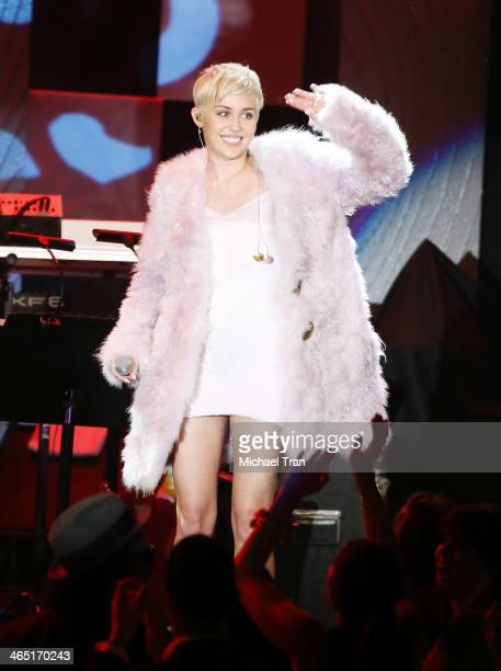 Miley Cyrus performs onstage during the Clive Davis and The Recording Academy present The Annual PreGRAMMY Gala held at The Beverly Hilton Hotel on...