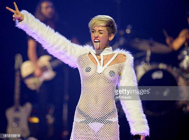 Miley Cyrus performs onstage during the iHeartRadio Music Festival at the MGM Grand Garden Arena on September 21 2013 in Las Vegas Nevada