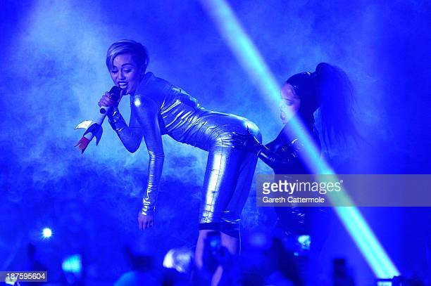 Miley Cyrus performs onstage during the MTV EMA's 2013 at the Ziggo Dome on November 10 2013 in Amsterdam Netherlands