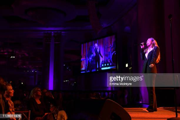 Miley Cyrus performs onstage during WCRF's 'An Unforgettable Evening' at the Beverly Wilshire Four Seasons Hotel on February 28 2019 in Beverly Hills...