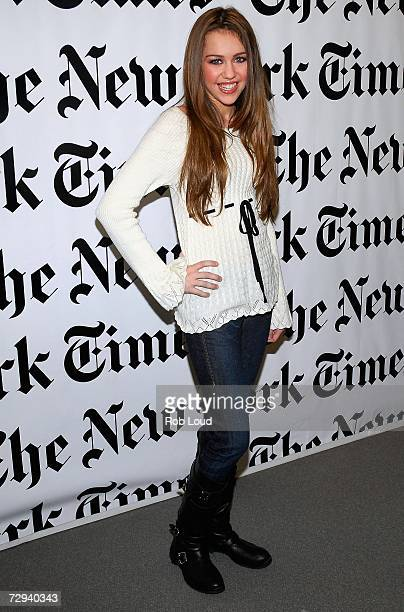 Miley Cyrus poses backstage at the 6th Annual New York Times Arts Leisure Weekend at The Graduate Center of Cuny on January 6 2007 in New York City