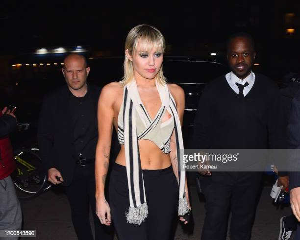 Miley Cyrus seen after the Marc Jacob NYFW event in Manhattan on February 12, 2020 in New York City.