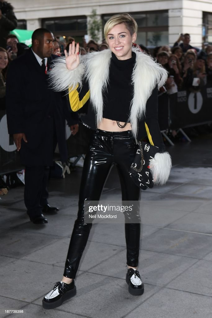 Miley Cyrus seen at BBC Radio One on November 12, 2013 in London, England.