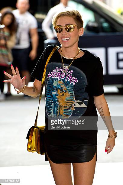 Miley Cyrus sighted at BBC Radio 1 on July 18 2013 in London England