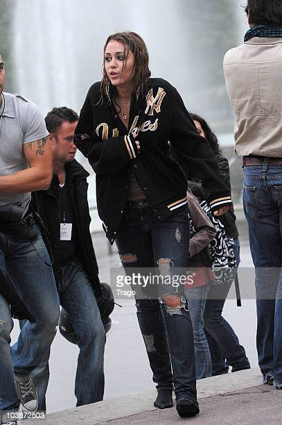 Miley Cyrus Sighted in Paris at Trocadero on location for 'LOL' Remake on September 6 2010 in Paris France