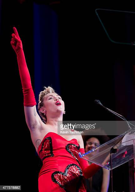 Miley Cyrus speaks onstage during the 2015 amfAR Inspiration Gala New York at Spring Studios on June 16 2015 in New York City