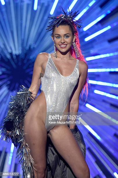 Miley Cyrus speaks onstage during the 2015 MTV Video Music Awards at Microsoft Theater on August 30 2015 in Los Angeles California
