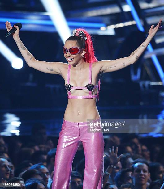 Miley Cyrus speaks onstage during the 2015 MTV Video Music Awards held at Microsoft Theater on August 30 2015 in Los Angeles California