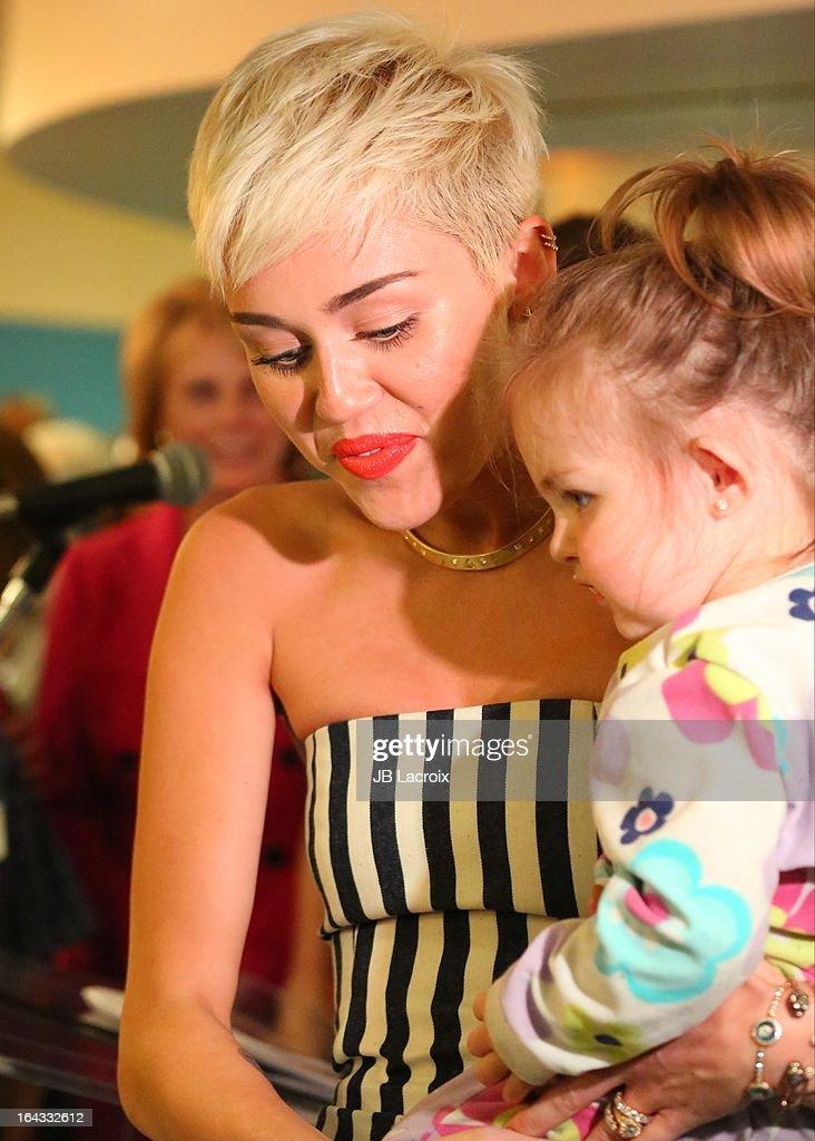 Miley Cyrus visits The Ryan Seacrest Foundation West Coast Debut Of New Multi-Media Broadcast Center 'Seacrest Studios' At CHOC Children's Hospital at CHOC Children?s Hospital on March 22, 2013 in Orange, California.
