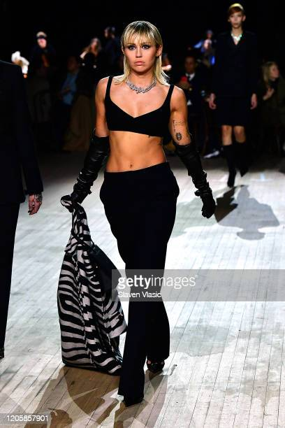 Miley Cyrus walks the runway at the Marc Jacobs Fall 2020 runway show during New York Fashion Week on February 12 2020 in New York City