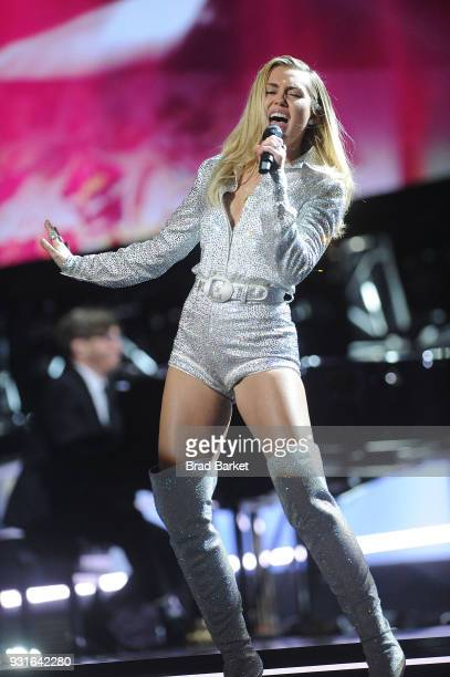 Miley Ray Cyrus performs during the Elton John I'm Still Standing A Grammy Salute at The Theater at Madison Square Garden on January 30 2018 in New...