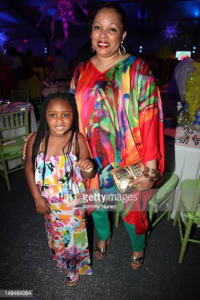 Miley Simmons and Justine Simmons attend the 13th Annual Russel Simmons Rush philanthropic ART FOR LIFE on July 28 2012 in East Hampton New York