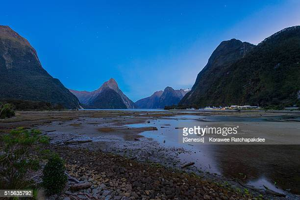 Milford sound in the evening with the star in the sky