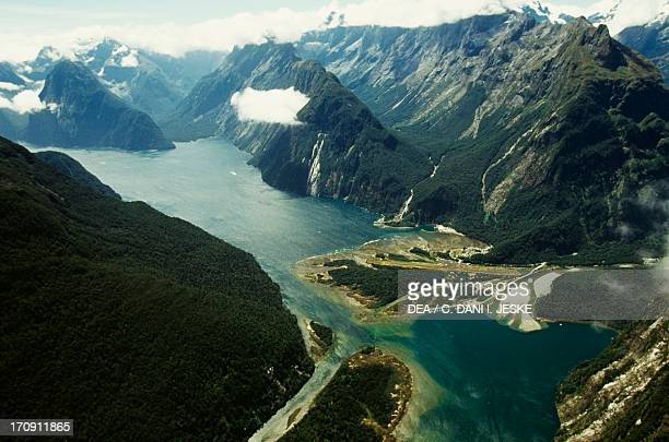 Milford Sound jetty and airstrip Fiordland National Park Westland National Park South Island New Zealand Aerial view