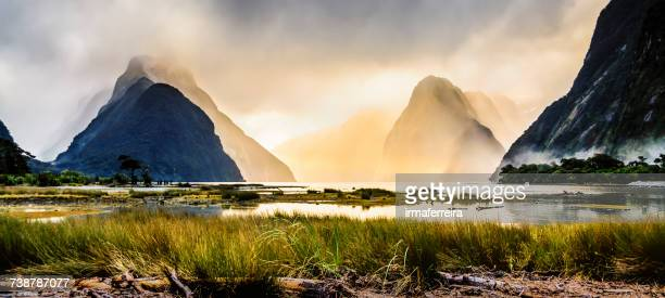 Milford Sound mist at sunset, South Island, New Zealand