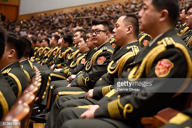 Miliatry musician attends to the opening session of the China's National People's Congress on March 5 2016 in Beijing China Assembly spokesman Fu...