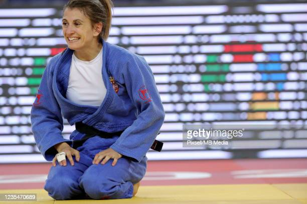 Milica Nikolic of Serbia reacts in the Women's -48kg semifinal match during day one of the Judo Grand Prix Zagreb 2021 at Arena Zagreb on September...