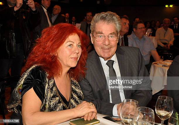 Milica Theessink and Austrian President Heinz Fischer attend the CD presentation 'Wishing Well' at Studio 44 on April 4 2013 in Vienna Austria