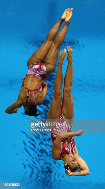 milie Heymans and Jennifer Abel win bronze for Canada in the 3 metre synchronized springboard final at the London 2012 Olympic Games at the Aquatic...