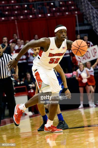 Milik Yarbrough forward Illinois State University Redbirds brings the basketball downcourt against the Indiana State Sycamores Sunday December 31 at...