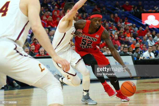 Milik Yarbrough of the Illinois State Redbirds drives the basket against the Loyola Ramblers during the Missouri Valley Conference Basketball...