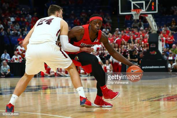 Milik Yarbrough of the Illinois State Redbirds looks to get past Rudy Stradnieks of the Southern Illinois Salukis during the Missouri Valley...